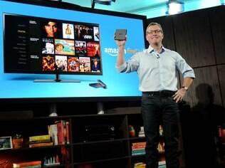 Executivo da Amazon, Peter Larsen apresentou a Fire TV em evento em Nova York, nos Estados Unidos