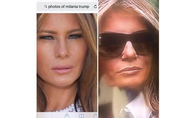 Internautas chegaram a fazer montagens para 'comprovar' que aquela não era a verdadeira Melania Trump