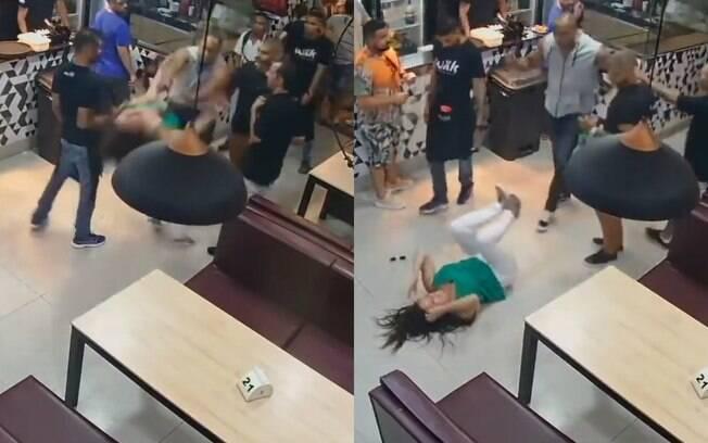 dois frames de homem empurrando mulher e mulher caída no chão