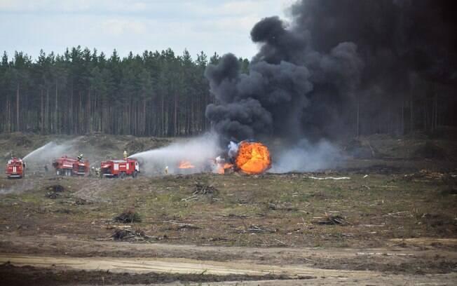 O Ministério da Defesa disse que o segundo piloto que sobreviveu ao acidente está em condições satisfatórias. Foto: Anton Nasonov, RZN.info/Photo via AP