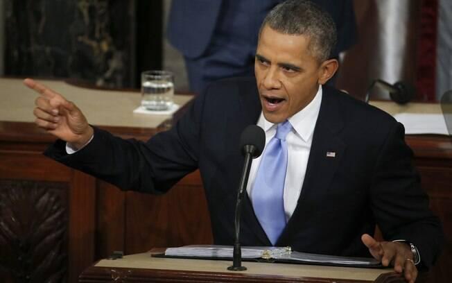 Presidente dos EUA, Barack Obama, faz seu discurso sobre o Estado da União no Capitólio, em Washington (28/1)