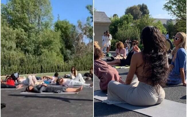 O chá de bebê feito por Kim Kardashian teve práticas de ioga e meditação para as convidadas