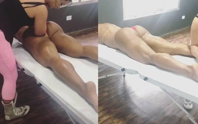 Gracyanne Barbosa dividiu com seguidores momento relaxante onde fez uma massagem usando só uma micro-calcinha