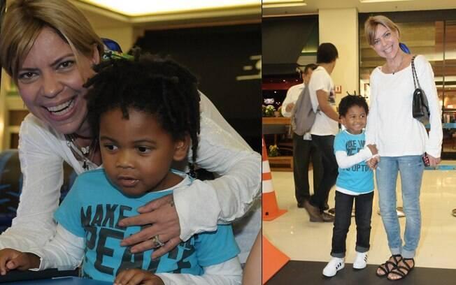 Astrid levou o filho Gabriel, de 4 anos, para brincar em evento nessa quarta-feira (21), em São Paulo