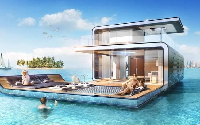 Cada casa flutuante tem três andares e aproximadamente 371 metros quadrados