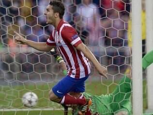 Koke celebra gol que garantiu o Atlético de Madrid na semifinal da Liga dos Campeões