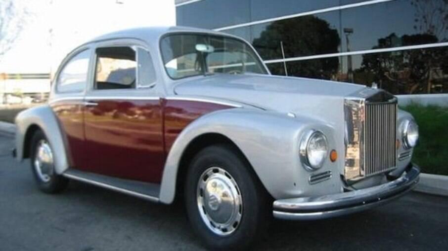 Fusca Rolls Royce era feito pela paulistana Edmorba e vinha com uma grade frontal decorativa, já que o carro é refrigerado a ar