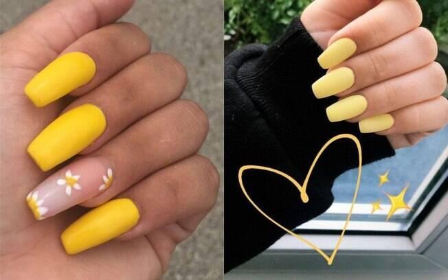 unhas pintadas de amarelo