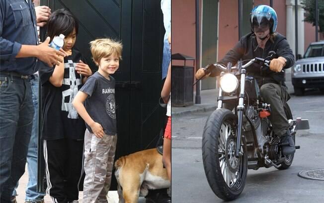 Brad Pitt passou de moto próximo aos filhos pra conferir se estava tudo bem