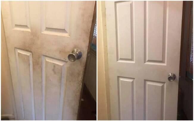 Ela usou amaciante para limpar as portas e deixá-las brancas novamente