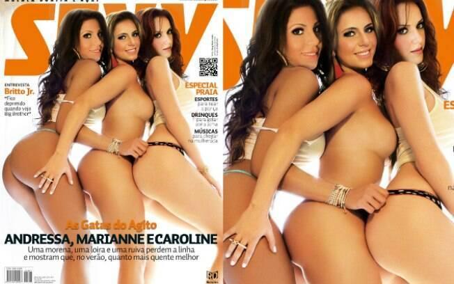 Andressa Ollyver, Marianne Ranieri e Caroline Redivo foram a capa de janeiro da revista Sexy