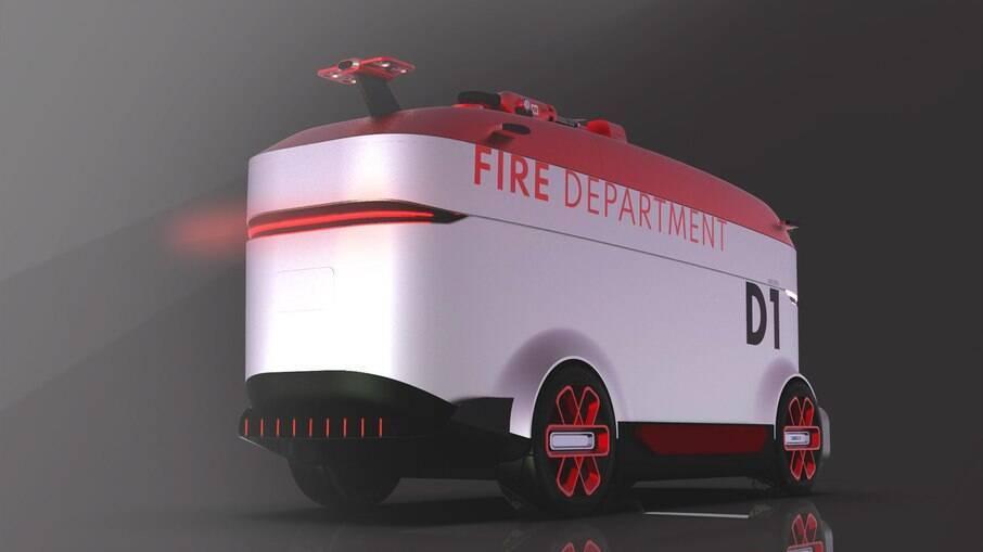 Caminhão de bombeiro autônomo capaz de se guiar até o local de incêndio sem precisar de um motorista para chegar ao local