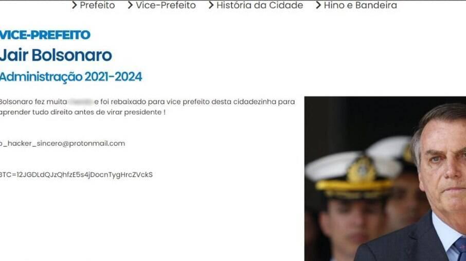 Site da prefeitura de Fama (MG) mostra Bolsonaro como vice-prefeito