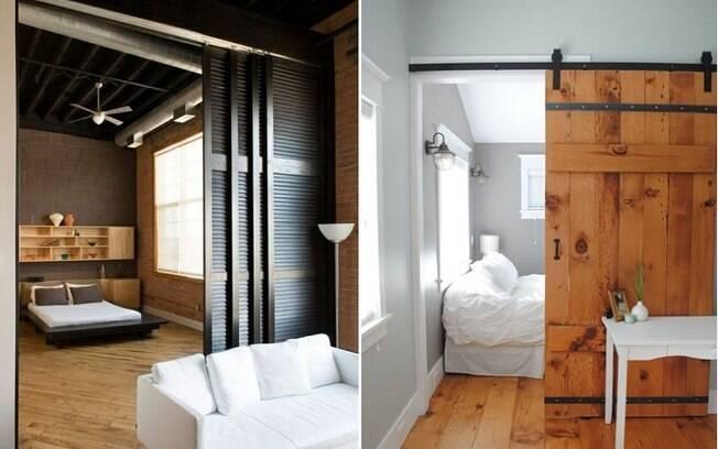 Portas são mais difíceis que biombos e cortinas para instalar, mas fazem um ótimo trabalho na hora de criar um cômodo