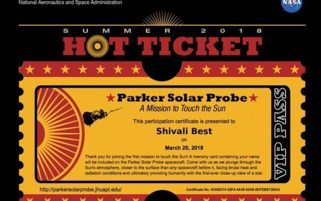 Para ser incluso na missão é necessário se cadastrar no site da Nasa, na área da Parker Solar Pobre para receber certificado