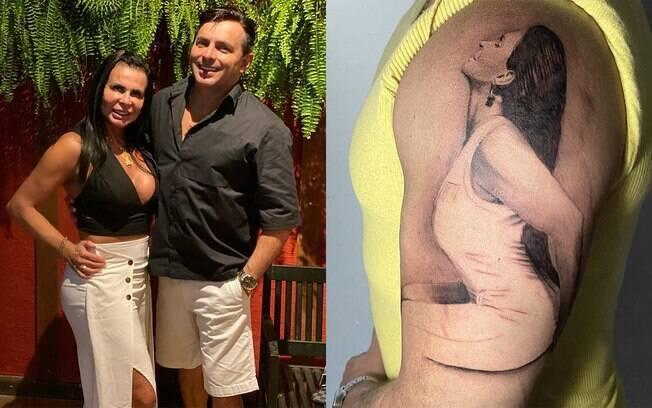Esdras de Souza, novo marido de Grecthen, tatua a cantora no braço