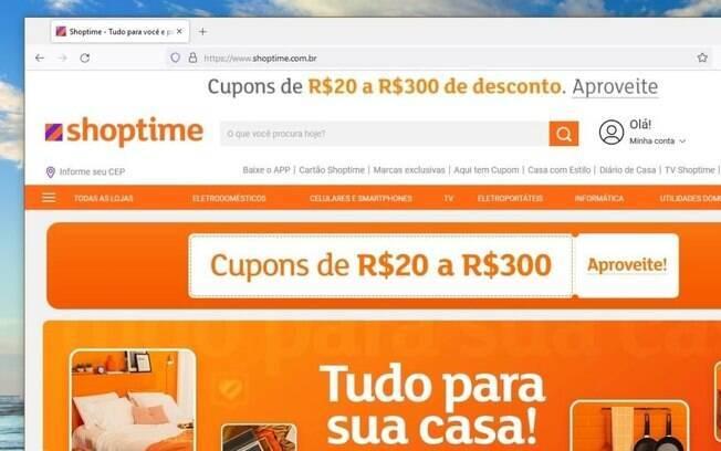 Site do Shoptime