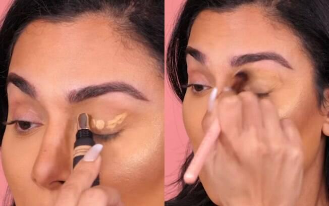 O primeiro passo do truque de maquiagem é cobrir a pálpebra com um corretivo que seja do mesmo tom da sua pele