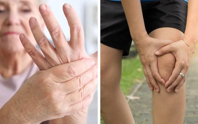 Artrite reumatoide afeta pequenas articulações, como mãos; a artrose, por sua vez, pode afetar as cartilagens do joelho