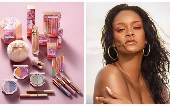 Rihanna e sua marca de maquiagem Fenty Beauty, que leva o último sobrenome da cantora