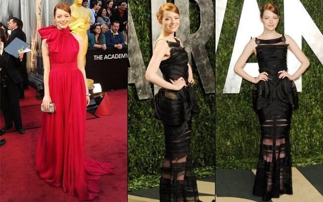 Emma Stone não repetiu o figurino na noite do Oscar 2012