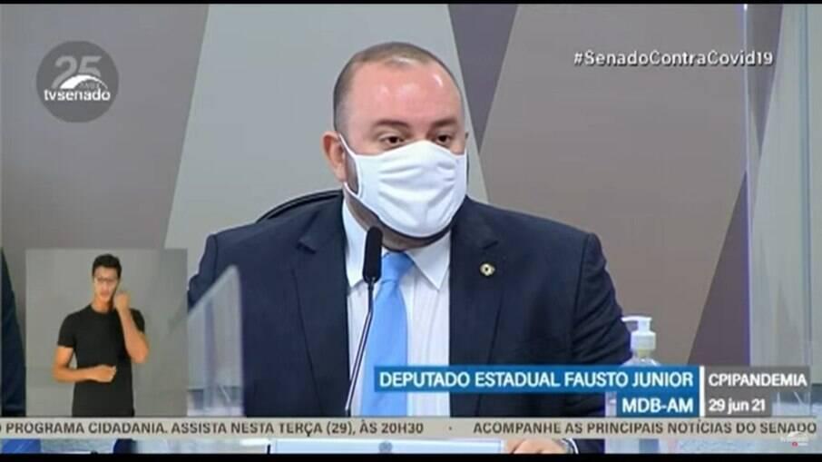Deputado estadual Fausto Junior presta depoimento à CPI da Covid-19