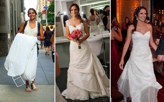 Cristiane em três momentos: carregando o vestido pelas ruas de Nova York; durante a prova e no dia do casamento