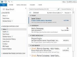 Sincronização de e-mails recebidos por meio do Outlook com dispositivos móveis apresenta problemas
