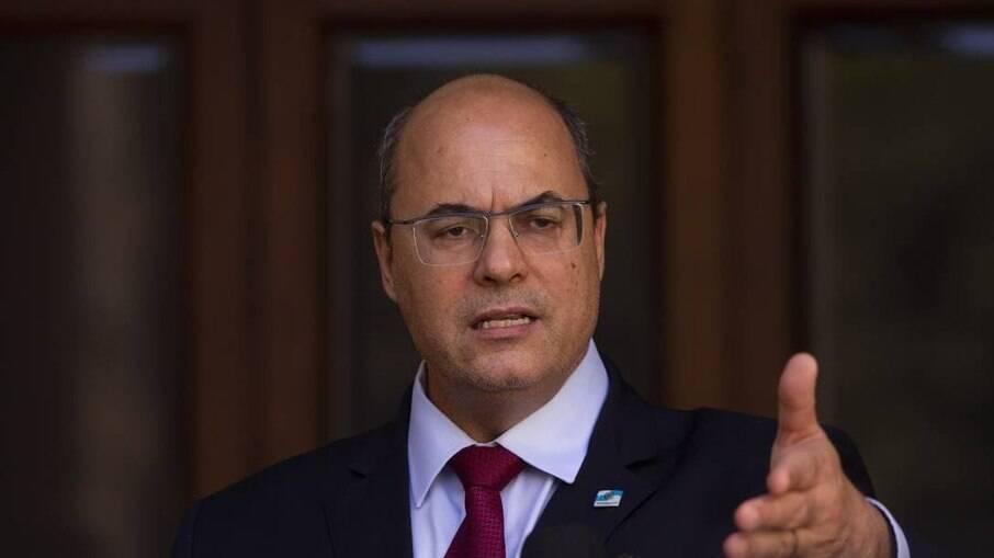 O governador Wilson Witzel em pronunciamento no Palácio Laranjeiras após ser afastado do cargo