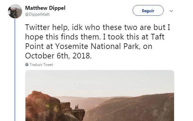 Matthew Dippel publicou a imagem nas redes sociais na tentativa de encontrar o casal que protagonizou o pedido de casamento