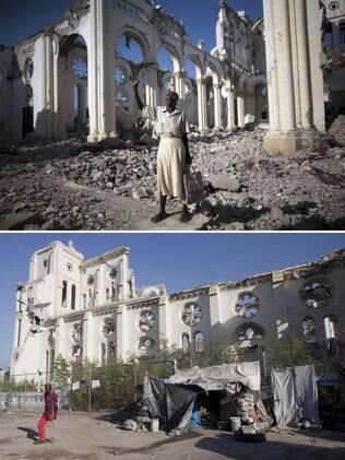 Combinação de fotos mostra Marie La Jesula Joseph orando do lado de fora de Catedral após terremoto de 12 de janeiro de 2010 e como está o local em 2015, no Haiti (10/01)