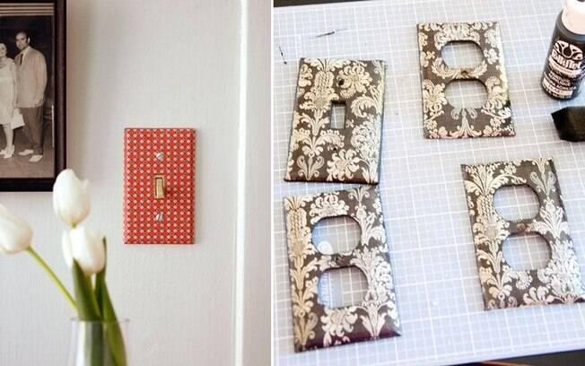 Com pequenos pedaços do material, é possível trazer um toque de cor ao cômodo personalizando interruptores