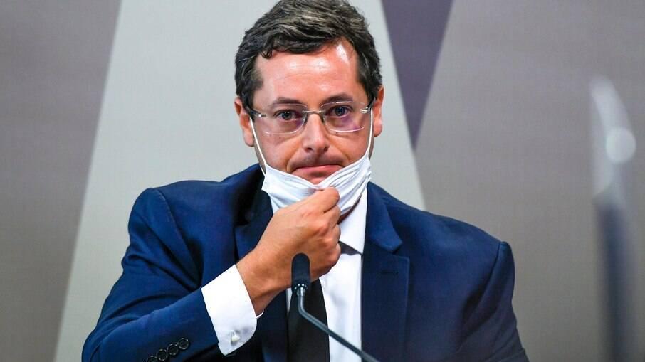 Fábio Wajngarten durante depoimento na sessão da CPI da Covid no Senado