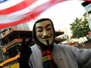 Máscara de Guy Fawkes é um dos símbolos do movimento Ocupe Wall Street