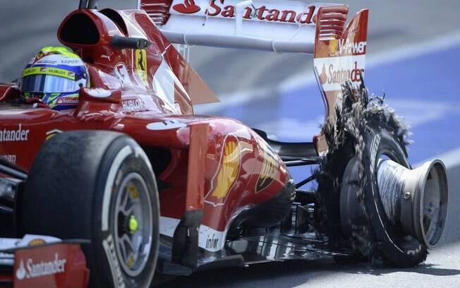 Pneu estourou e comprometeu prova de Felipe  Massa na Inglaterra