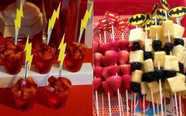 Para as comidinhas, use morangos para remeter ao Flash e ao Super Homem e abacaxi com amoras para lembrar o Batman
