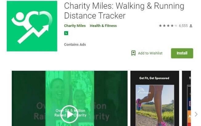 Aplicativos fitness: o Charity Miles busca motivar seus usuários através de causas sociais, pois são feitas doações