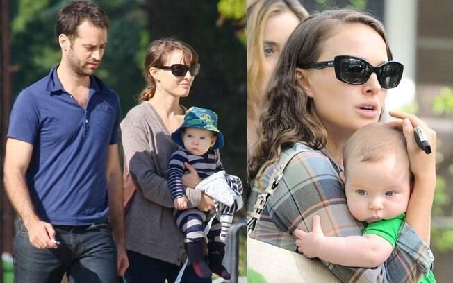 Aleph com os pais Natalie Portman e o coreógrafo francês Benjamin Millepied