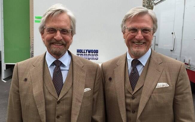 Michael Douglas e seu dublê Mike Runyard que trabalha com ele em diversos filmes, nas gravações de Homem Formiga