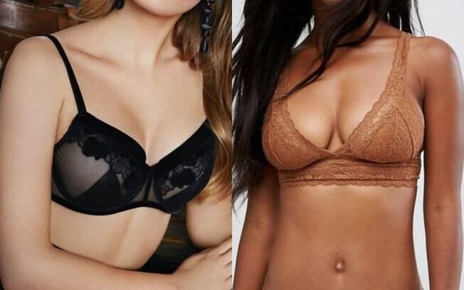 mulheres com lingerie nas cores pretaoe marrom