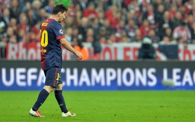 Lionel Messi esteve apagado na derrota do  Barcelona para o Bayern de Munique nesta  terça-feira