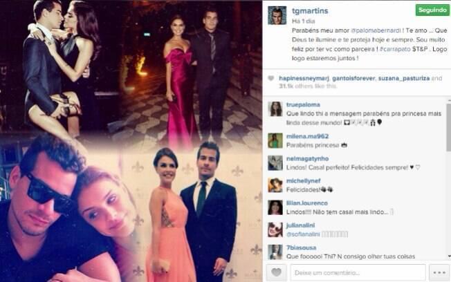 Thiago Martins faz declaração para Paloma Bernardi no dia do aniversário da namorada