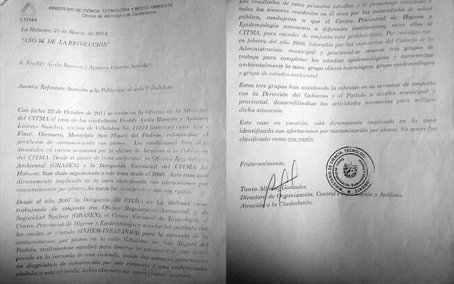 Documento do CITMA que Aymara Linares guarda