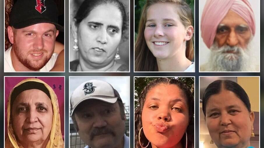As vítimas do tiroteio: Matt Alexander, Amarjit Sekhon, Samaria Blackwell, Jaswinder Singh, Bottom L-R: Amarjeet Johal, John Weisert, Karli Smith, Jasvinder Ka