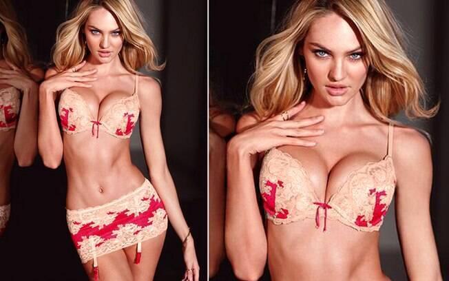 f3887012e O sutiã da Victoria s Secret aumenta os seios e valoriza o decote. Foto   Getty