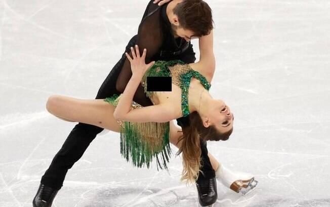 Gabriella Papadakis e Guillaume Cizeron durante a transmissão oficial dos Jogos Olímpicos de Pyeongchang