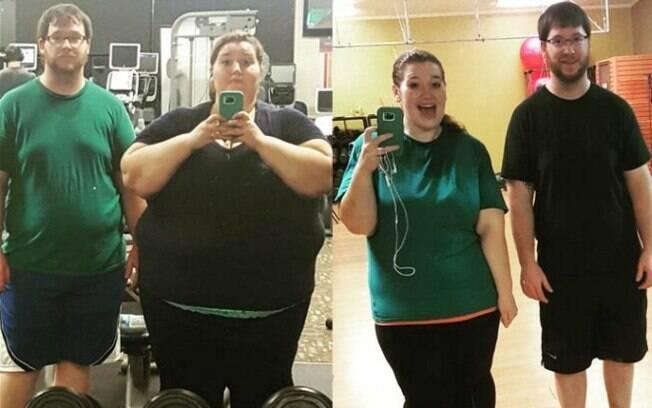 Casal emagrece quase 140 kg em um ano e mostra antes e depois nas redes sociais