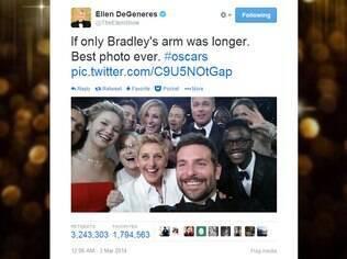 Foto postada por Ellen DeGeneres durante o Oscar 2014 bateu recorde no Twitter
