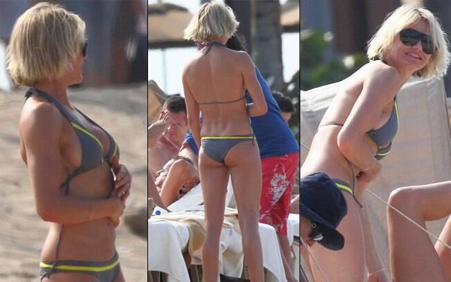 Cameron Diaz aproveitou as férias em uma praia no Havaí