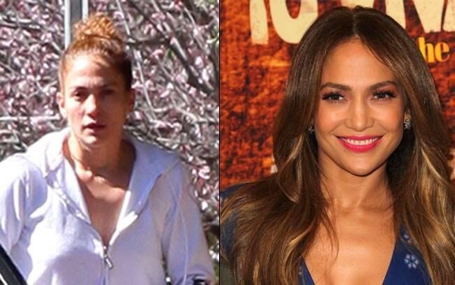 Jennifer Lopez: sem e com maquiagem